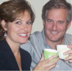 "Paula and her husband Dan caught in the act of enjoying a cup of tea. ""We both feel that fine loose-leaf tea has brought many health benefits to our lives."""